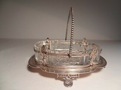 Antique Silver Plate & Cut Glass Thomas Wilkinson & Sons Serving Candy Dish 19c
