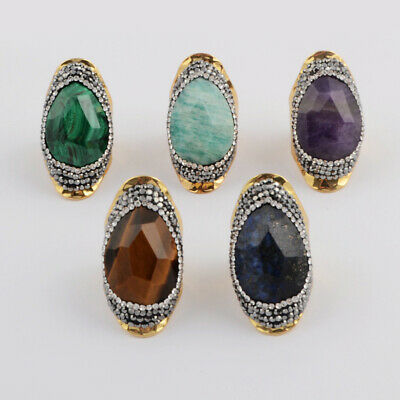 Gold Silver Plated Paved CZ Drop Mix Gemstone Malachite Faceted Band Ring BJA956