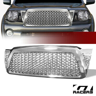 For 05-09 Toyota Tacoma Chrome Honeycomb Mesh Front Bumper Hood Grill Grille ABS
