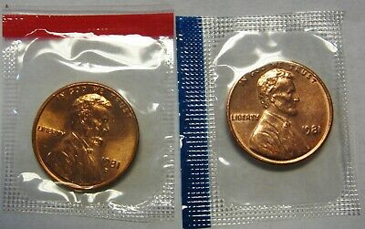 1981-P and 1981-D CH BU Lincoln Cents in Original Mint Cello Packs   DUTCH