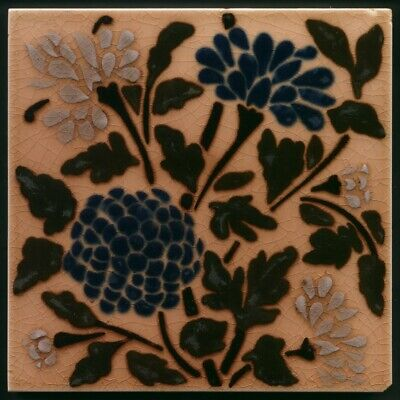 TH3653 Fabulous Wedgwood Barbotine Stencil Carnations Tile c.1885