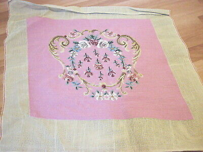 Vintage Needlepoint Floral Pattern Chair Cover Or Pillow Cover    Pink