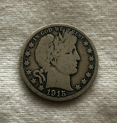 Silver 1915 S Barber Half Dollar Good - VG Last Year of the Type!