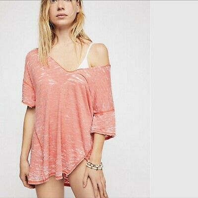 Free People Maddie Tee T Shirt Burnout Oversized Large L $58 Ob774702 Nwt New