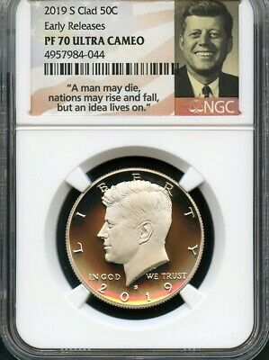 2019 S Clad Kennedy Half Dollar Early Releases NGC PF70 U.C. Smiling Label