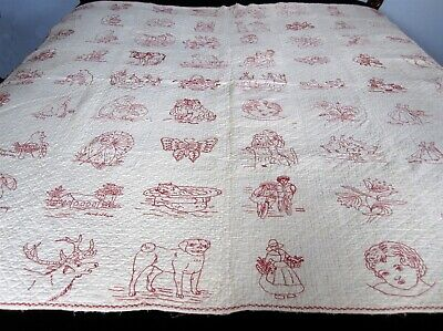 Antique Redwork Childs Quilt Red on White Hand Made Stitched 70 by 62 Coverlet
