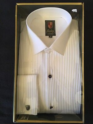 Vintage Bisley White Formal Dress Shirt In Box Size 16 With Instruction Paper