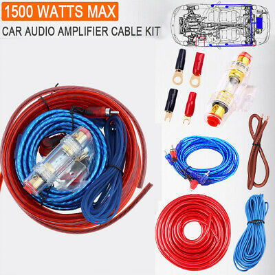 Car Audio Wire Wiring Amplifier Cable 1500W 8 GA 40 AMP Fuse Set Complete Kit