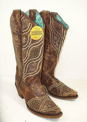 8aa6eccdc CORRAL VINTAGE SAND   Blue Laser Inlay Cowboy Cowgirl Western Boots ...