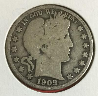1909O US Barber SILVER Half Dollar! Good! Old US Coin!