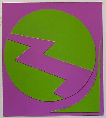Vintage Abstract Shapes Paper Art Collage Wall Hanging Mid Century Modern - 9