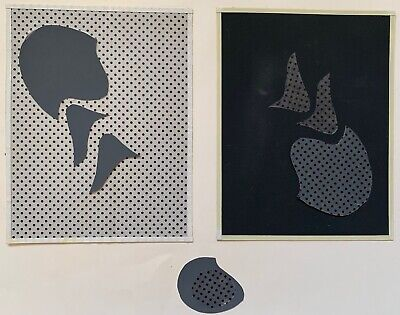 Vintage Abstract Shapes Paper Art Collage Wall Hanging Mid Century Modern - 10