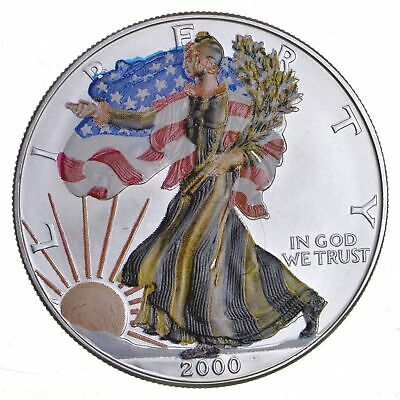 2000 Beautifully Painted/Sticker American Silver Eagle 1 Oz. .999 Fine *293
