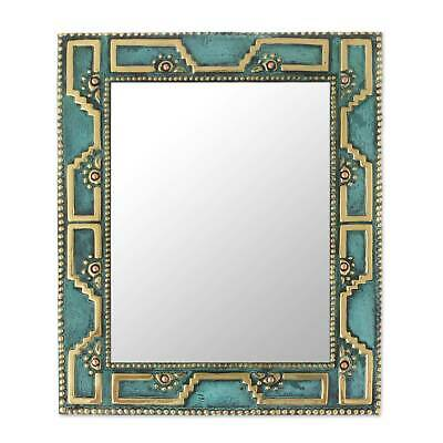Bronze and Copper Wall Mirror 'Golden Chan Chan' NOVICA Peru Handcrafted
