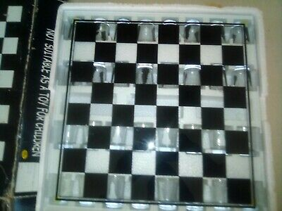 glass chess 32 piece drinking game set in the box new
