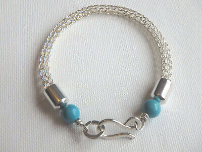 Handmade Viking Knit Weave Bracelet with Turquoise Sterling Silver 925