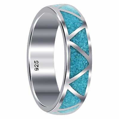 Sterling Silver Turquoise Inlay Band Ring 6mm wide Southwestern Style