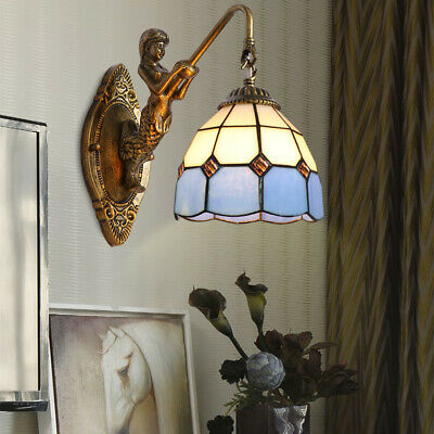 Tiffany Wall Sconces  Stained Glass Shade Lighting Lamp Mermaid Indoor Fixture