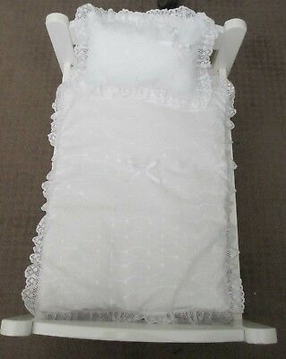 """Quilt & Pillow set suitable for Doll's,Pram,Cradle,Cot,Bed,"""" White Broderie"""""""