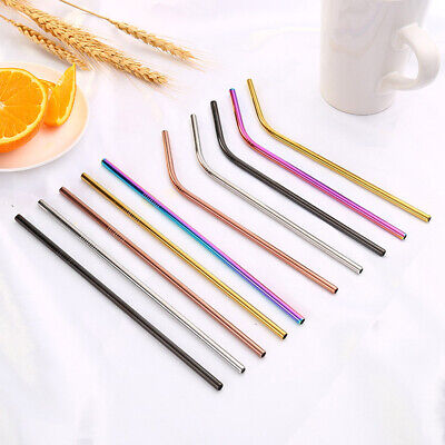 """8.5"""" Reusable Stainless Steel Drinking Straws Metal For Yeti Rtic Tumbler 2019"""