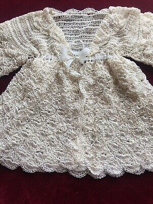Exquisite Hand Crochet Silk Matinee Jacket For Doll Or Bear - Great Condition