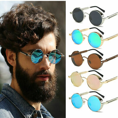 2019 Polarized Vintage Steampunk Sunglasses Retro Fashion Round Mirrored Pop AU