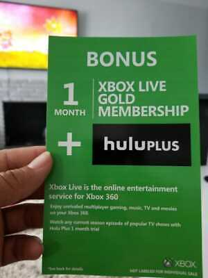 Microsoft Xbox Live Gold 1 Month Subscription Code Card