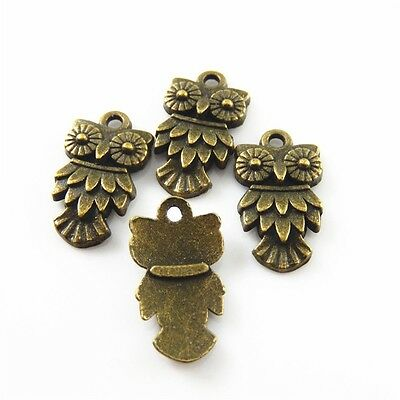 Antiqued Bronze Tone Alloy Owl Look Charms Pendant Crafts Jewelry Findings 50pcs