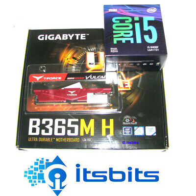 GIGABYTE B365M H MOTHERBOARD + INTEL i5-9400F SIX CORE 2.9Ghz 1151 + 8GB DDR4