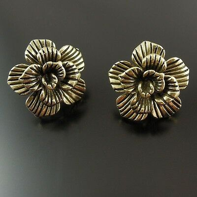8pcs Vintage Bronze Brass Flower Earring Stud Jewelry Findings 37532