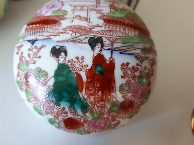 ART DECO VINTAGE 30s GEISHA COUPLE ENAMEL DECORATED  CERAMIC LIDDED BOWL