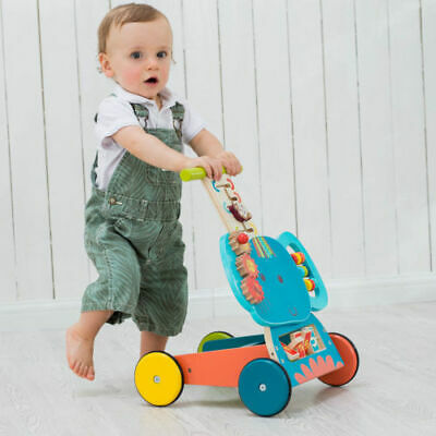 Blue Elephant Wooden Push Along Walker Baby Toys First Step Mobility Learn Stand