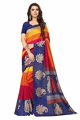Indian traditional  Women's Art Silk Cotton Blend Saree with Blouse.