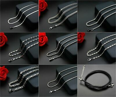 Multiple Styles Men Womens 316L Stainless Steel Silver Link Chain Necklace Gift