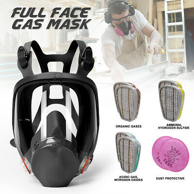 Full Face Gas Mask Respirator Fully Facepiece Painting Spraying w/2 Filters