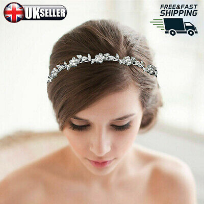 Silver Bridal Veil Tiara Diamante Rhinestone Crystal Wedding Party Prom Headband