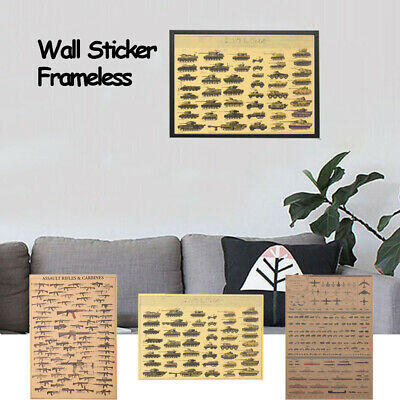 Wall Sticker Kraft Paper Vintage Posters Famous Rifles Home Decor Bar Ornament