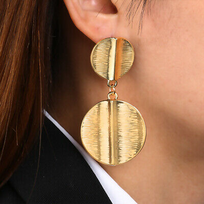 Fashion Women Gold Metal Circle Geometric Statement Drop Earrings Dangle Jewelry