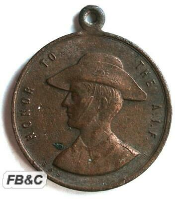 WWI 1918 ANZAC Day Medal - Honour to the AIF - Gallipoli France Palestine