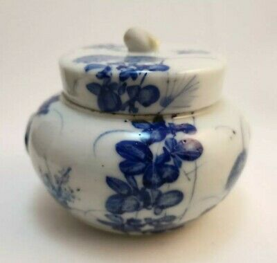 Antique Japanese Seto Blue & White Oriental Porcelain pot with lid early 19th C