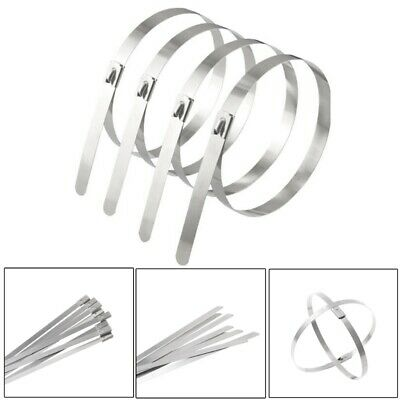 10X Stainless Steel Metal Cable Tie Zip Wrap Exhaust Heat Straps Induction Pipe
