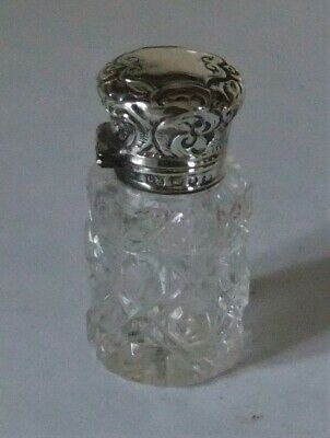Lovely Victorian Silver Hinged Cut Glass Scent Bottle. Birmingham.1892
