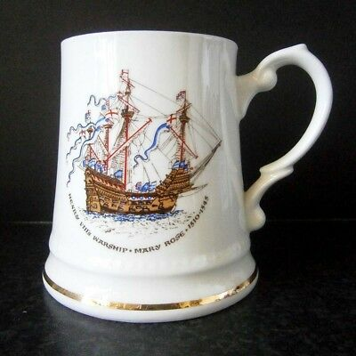 ENGLISH BONE CHINA TANKARD MUG HENRY VIII's WARSHIP MARY ROSE 1510-1545