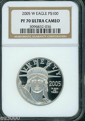 2005-W $100 PLATINUM EAGLE STATUE of LIBERTY 1 Oz. NGC PF70 PROOF PR70 CAMEO !!