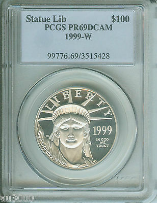 1999-W $100 STATUE of LIBERTY PLATINUM EAGLE 1 Oz. PCGS PR69 PF69 !!!!
