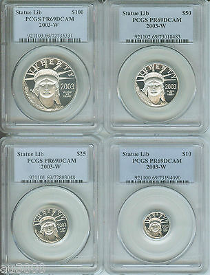 2003-W Platinum Eagle Pcgs Pr69 Pf69 4-Coins Proof Set ( $100 $50 $25 $10 ) !