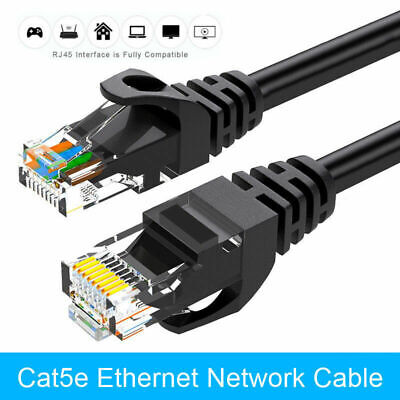 10m RJ45 CAT 5e Ethernet Cable Cat 5 LAN Network Internet Router Lead Black