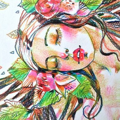 Nude Female Original Art Beautiful Pinup Erotic Fantasy Drawing Dreaming Flowers