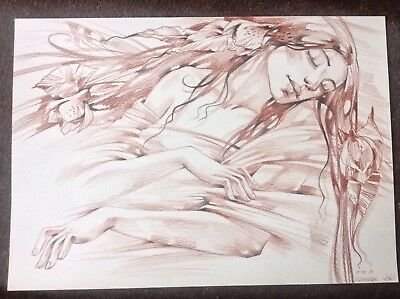 Female Original Art Beautiful Woman Fantasy Drawing Sleeping Beauty Flowers Rest