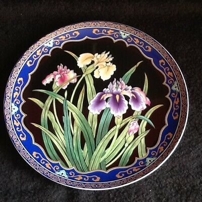 "Beautiful Old Art Nouveau ""iris Flowers"" China Wall Plaque No Reserve"